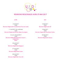 CALENDRIER REUNIONS REGIONALES UFDI AVRIL/MAI