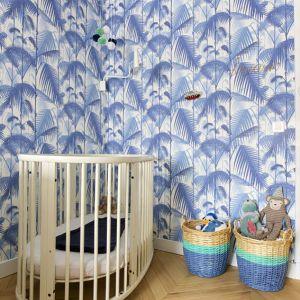 Vignette Chambre de bébé au papier peint bleu