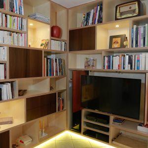 Vignette Création Bibliothèque/meuble TV/Hifi contreplaqué bouleau, plaquage chêne teinté vengé - Isabelle Arnaud Décoration