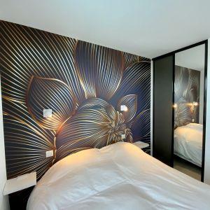 Vignette tete de lit papier peint panoramique fonce decorizon