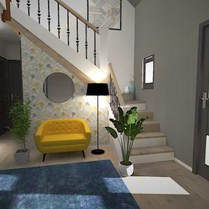 Vignette Voici la proposition faite à mes clients. Les boiseries sont peintes en anthracite pour plus de modernité, les murs sont gris. L