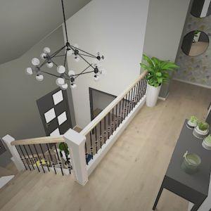 Vignette Un rappel du papier peint à l'étage, avec le beau volume apporté par le plafond atypique et la mezzanine.